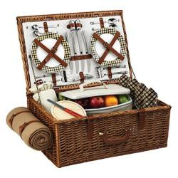 Picnic at Ascot Dorset Basket for Four with Blanket Wicker/London