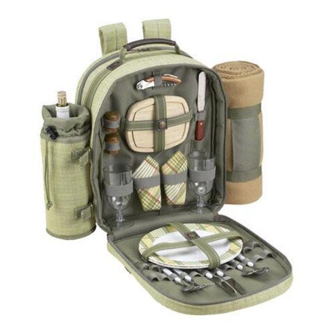 Picnic at Ascot Hamptons Picnic Backpack Cooler for 2 w/ Blanket Olive/Tweed