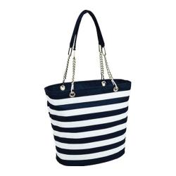 Picnic at Ascot Insulated Cooler Tote Blue/White Stripe