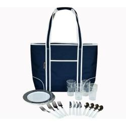 Picnic at Ascot Large Insulated Picnic Tote for Two Navy/White