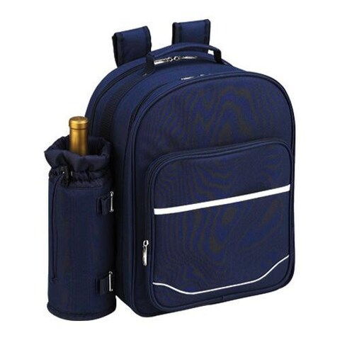 Picnic at Ascot Picnic Backpack for Four with Blanket Navy/White