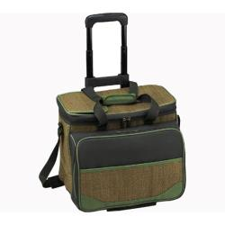 Picnic at Ascot Picnic Cooler for Four/Wheeled Cart Natural Fiber/Forest Green