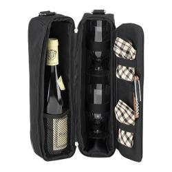 Picnic at Ascot Sunset Deluxe Wine Carrier for Two Black/London Plaid