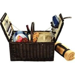 Picnic at Ascot Surrey Picnic Basket for Two with Blanket Brown Wicker/Blue Stripe