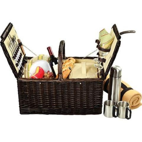 Picnic at Ascot Surrey Picnic Basket for Two with Blanket/Coffee Brown Wicker/Hamptons