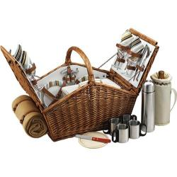Picnic at Ascot Sussex Picnic Basket for Two with Blanket/Coffee Wicker/Santa Cruz Stripe