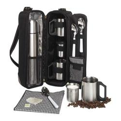 Picnic at Ascot Vienna Coffee/Tea Tote for Two Black/Gingham