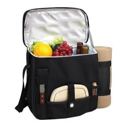 Picnic at Ascot Wine and Cheese Cooler with Blanket Black