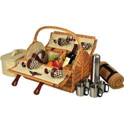 Picnic at Ascot Yorkshire Picnic Basket for Four w/ Blanket/Coffee Wicker/London Plaid