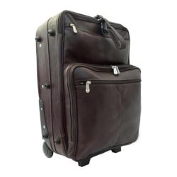 Piel Leather Chocolate 22-inch Rolling Carry On Upright Suitcase