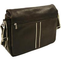 Piel Leather Chocolate Four-Section Urban Messenger Bag