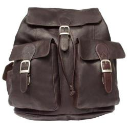 Piel Leather Large Buckle Flap Backpack 9726 Chocolate Leather