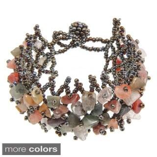 Handmade Blue or Orange Rutilated Quartz Crystal Bracelet (China)