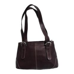 Women's Piel Leather Medium Buckle Handbag 2599 Chocolate Leather