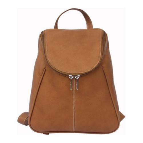 Women's Piel Leather UZip Flap Backpack 2466 Saddle Leather