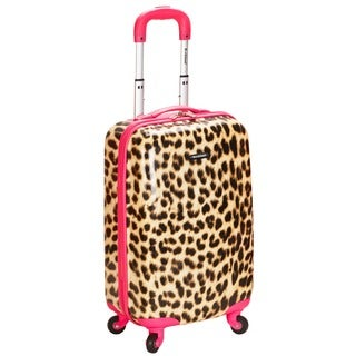 Rockland Pink Leopard 20-inch Lightweight Hardside Spinner Carry-on Upright Luggage