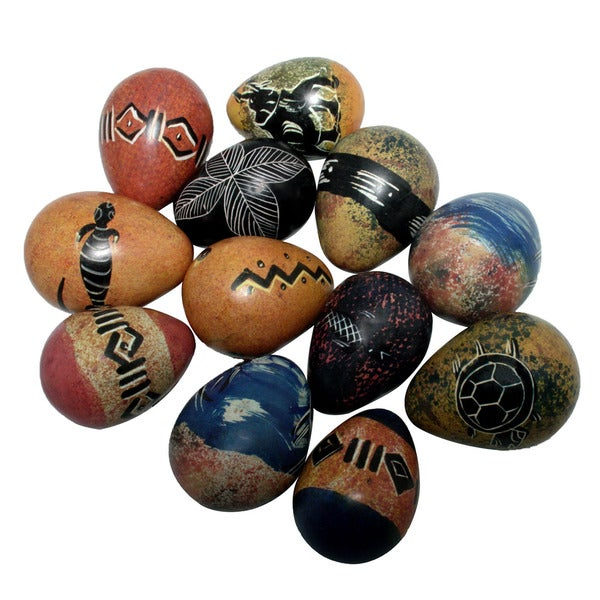 Set of 12 Decorative Colored Soapstone Eggs  , Handmade in Kenya