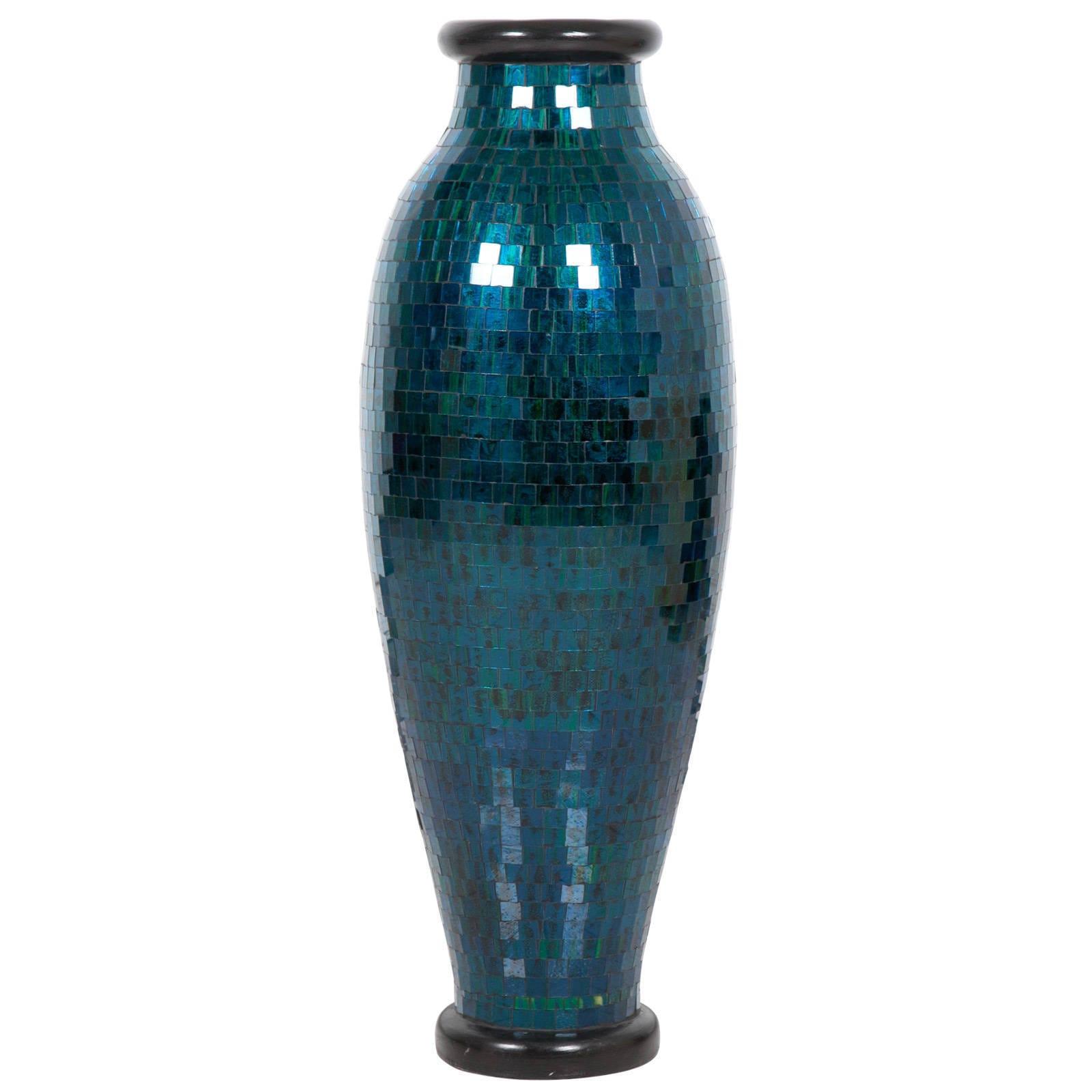 Turquoise Mosaic Floor Vase