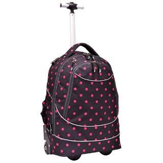 US Traveler Horizon Polka Dot Rolling Computer Backpack