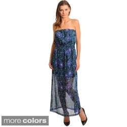 Stanzino Women's Floral Print Semi-Sheer Strapless Maxi Dress
