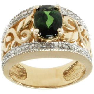 Michael Valitutti 14K Two-tone Gold Green Tourmaline and Diamond Band-style Ring
