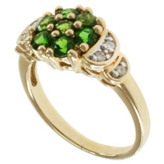 Michael Valitutti 14k Yellow Gold Russian Diopside and Diamond Ring