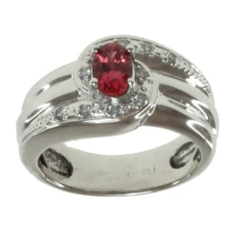 Michael Valitutti 14k White Gold Ruby and Diamond Ring