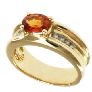 Michael Valitutti 14k Yellow Gold Spessartite Garnet and Diamond Ring