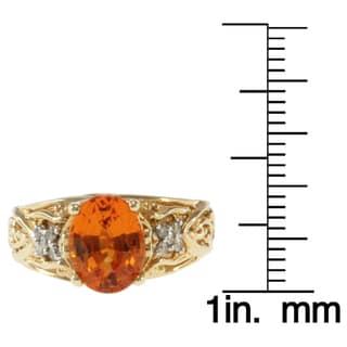 Michael Valitutti 14k Yellow Gold Verdilite Tourmaline or Spessartite Garnet and Diamond Ring
