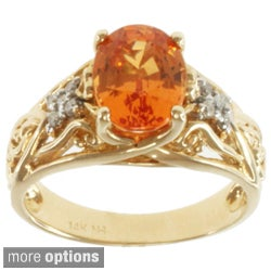 Michael Valitutti 14k Yellow Gold Verdilite Tourmaline or Spessartite Garnet and Diamond Ring