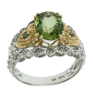 Michael Valitutti 14K Two-tone Gold Oval-cut Green Tourmaline and Diamond Ring
