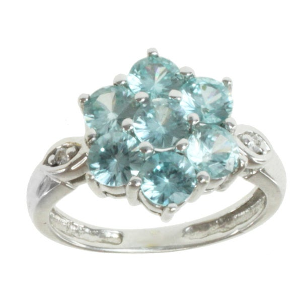 Michael Valitutti 14K White Gold Blue Zircon and Diamond Floral Ring