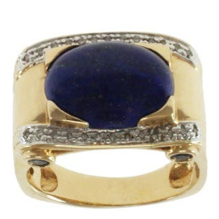 Michael Valitutti Men's 14k Yellow Gold One of a Kind Lapis, Blue Sapphire and Diamond Ring|https://ak1.ostkcdn.com/images/products/8073900/P15428940.jpg?impolicy=medium