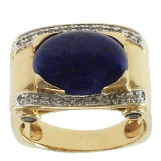 Michael Valitutti Men's 14k Yellow Gold One of a Kind Lapis, Blue Sapphire and Diamond Ring