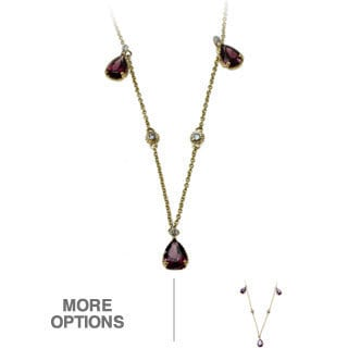 Michael Valitutti 14k Yellow Gold Amethyst or Rhodolite and Diamond Necklace