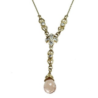 Michael Valitutti 14k Yellow Gold Morganite and Diamond Necklace