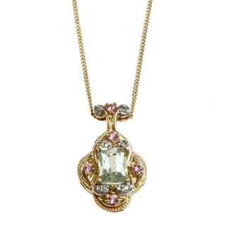 Michael Valitutti 14k Yellow Gold Hiddenite, Pink Sapphire and Diamond Necklace