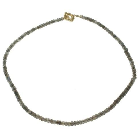 Michael Valitutti 14k Gold Labradorite Bead and Diamond Necklace