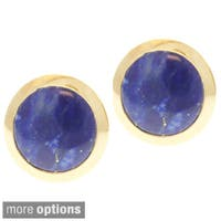 Michael Valitutti Men's 10k Yellow Gold Petrified Palm or Lapis Cuff Links