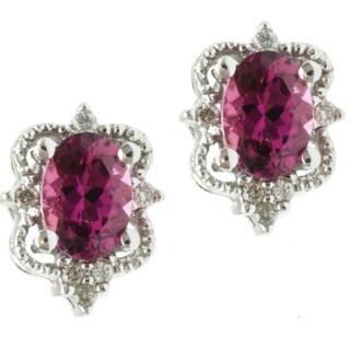 Michael Valitutti 14k White Gold Pink Tourmaline and Diamond Earrings