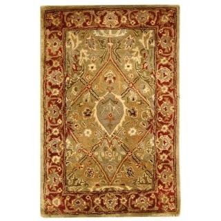 Safavieh Handmade Persian Legend Light Green/ Rust Wool Rug (2' x 3')