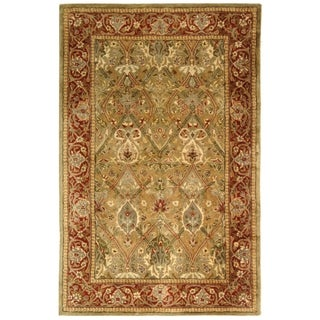 Safavieh Handmade Persian Legend Light Green/ Rust Wool Rug (4' x 6')