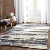 Safavieh Retro Modern Abstract Cream/ Blue Distressed Rug - 4' x 6'