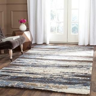 Safavieh Retro Modern Abstract Cream/ Blue Distressed Rug (5' x 8')