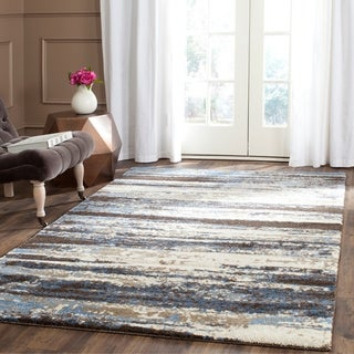 Safavieh Retro Modern Abstract Cream/ Blue Distressed Rug - 5' x 8'
