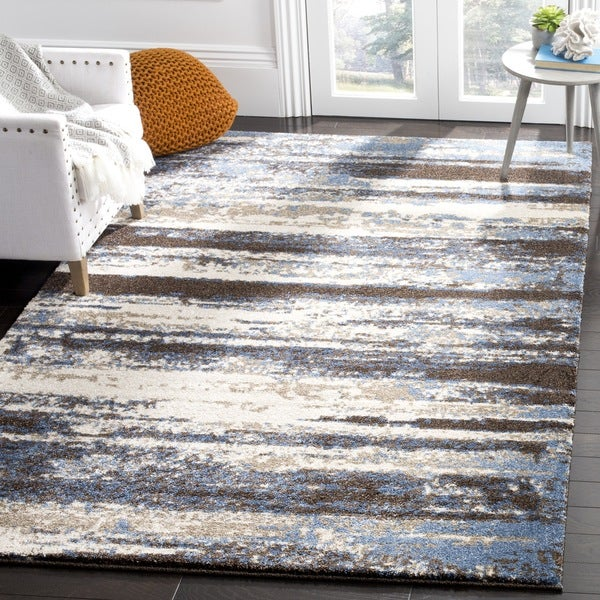 Safavieh Retro Modern Abstract Cream/ Blue Distressed Rug - 8' x 10'