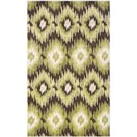Safavieh Retro Bohemian Dark Brown/ Green Distressed Rug (8' x 10')