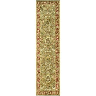 Safavieh Handmade Persian Legend Light Green/ Rust Wool Rug (2'6 x 22')