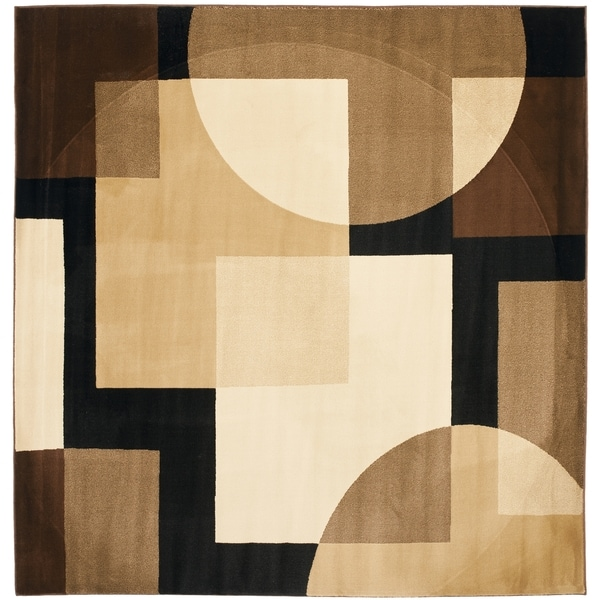Safavieh Porcello Modern Abstract Brown/ Multi Rug - 5' Square