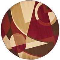Safavieh Porcello Modern Abstract Red/ Beige Rug - 5' Round